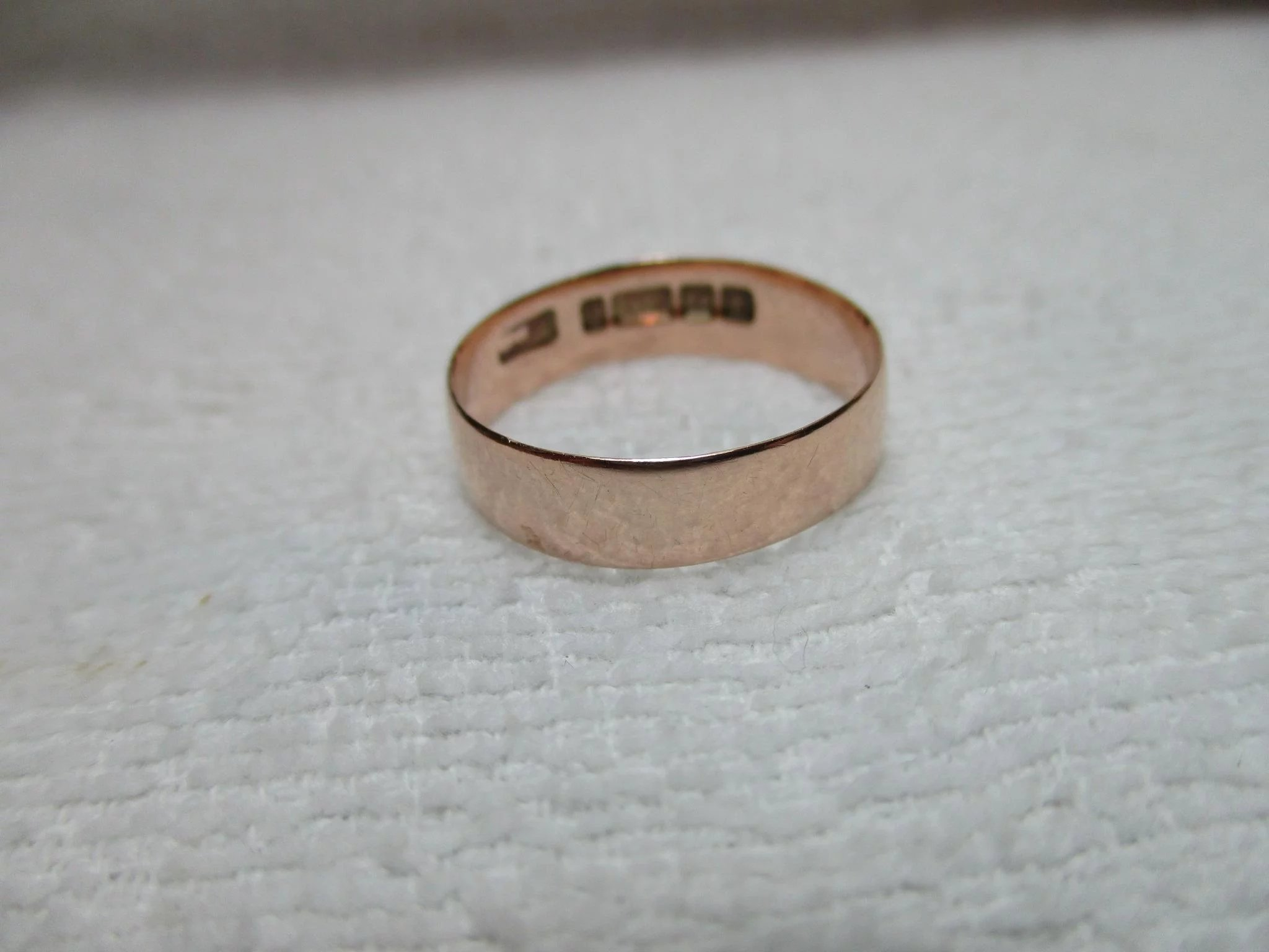 Antique birmingham 1918 9ct solid rose gold wedding band for Sell jewelry birmingham al