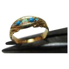 Decorative Edwardian{Birmingham 1903} 15ct Solid Gold 5-Stone Opal + Turquoise Gemstone Ring