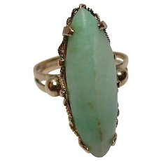 Charismatic Antique 15ct Solid Gold 'Marquise Shaped' Jadeite Gemstone Ring{4.8 Grams}