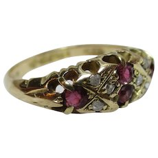 Decorative Edwardian{Chester 1909} 18ct Solid Gold Diamond + Ruby Gemstone Ring{3.5 Grams}