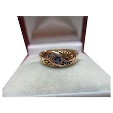 Pretty Victorian{Chester 1895} 15ct Solid Gold 5-Stone Diamond + Sapphire Gemstone Ring