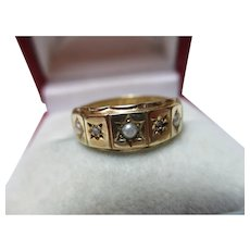 Decorative Victorian{Birmingham 1893} 15ct Solid Gold 5-Stone Diamond + Split Seed-Pearl Gemstone Ring