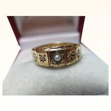 Decorative Victorian{Birmingham 1893} 15ct Solid Gold 5-Stone Diamond + Split Seed-Pearl Gemstone Ring