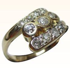 Superb Antique 18ct Solid Gold Diamond Gemstone 'Twist' Ring{3.5 Grams}{0.5Ct Weight Diamond Weight}