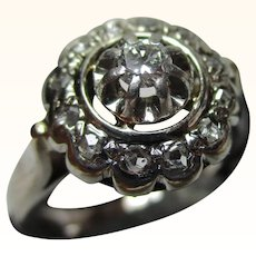 Attractive Antique 18ct Solid White Gold Diamond Cluster Ring{4.0 Grams}{0.32Ct Diamond Weight}