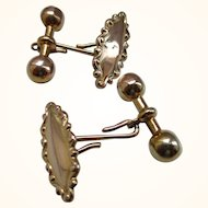 Gents' Ornate Antique 9ct Gold 'Marquise + Dumbbell' Staple-Link Cufflinks{5.4 Grams}