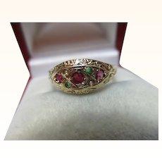 Pretty 9ct Solid Gold 7-Stone Emerald, Ruby + Split Seed-Pearl Gemstone Ring