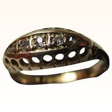 Decorative Antique 18ct Solid Gold 5-Stone Diamond Gemstone Ring