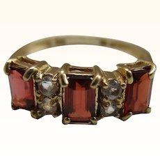 Pretty 9ct Solid Gold Garnet  + Cubic Zirconia Gemstone Ring