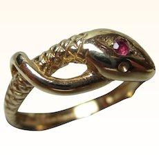Decorative Vintage 9ct Solid Gold Ruby Gemstone 'Snake' Ring