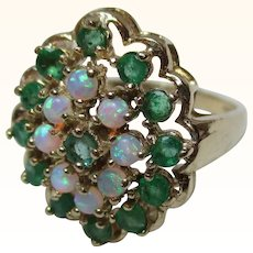 Attractive 9ct Solid Gold Emerald  + Opal Gemstone Cluster Ring{3.9 Grams}
