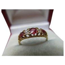 Attractive Edwardian{Birmingham 1903} 18ct Solid Gold 5-Stone Diamond + Ruby Gemstone Ring