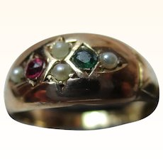 Attractive Victorian{Chester 1893} 15ct Solid Gold Emerald, Ruby + Split Seed-Pearl Gemstone 'Suffragette' Ring