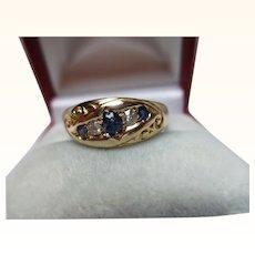 Decorative Victorian{Birmingham 1899} 18ct Solid Gold 5-Stone Diamond + Sapphire Gemstone Ring{3.8 Grams}