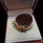Attractive Antique 9ct Rose Gold Carnelian Gemstone 'Swivel Fob Pendant'{7.8 Grams}