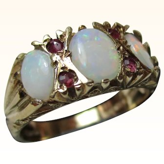 Attractive 9ct Solid Gold 7-Stone Ruby + Opal Gemstone Ring{3.5 Grams}{1.3Ct Opal Weight}