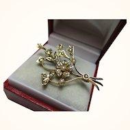 Delightful Antique 9ct Solid Gold Split Seed-Pearl Gemstone 'Spray Brooch'