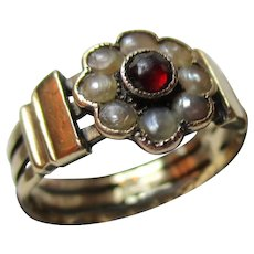 Pretty Georgian 15ct Solid Gold Garnet + Split Seed-Pearl Gemstone Cluster Ring