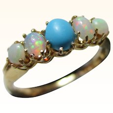 Attractive Antique 18ct Solid Gold 5-Stone Opal + Turquoise Gemstone Ring