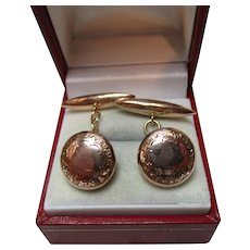 Gents' Decorative Antique 9ct Rose Gold 'Torpedo + Button' Chain-link Cufflinks{3.7 Grams}