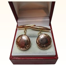 Gents' Decorative Antique 9ct Rose Gold 'Torpedo + Button' Chain-link Cufflinks{3.7 Grams}