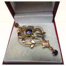 Delightful Antique 9ct Solid Gold Blue Stone + Split Seed-Pearl Gemstone 'Openwork Pendant'