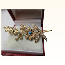 Quality Antique 15ct Solid Gold Turquoise + Split Seed-Pearl Gemstone 'Spray Brooch'{5.4 Grams}