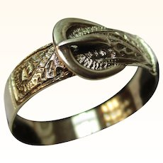 Decorative Vintage{London 1985} 9ct Solid Gold 'Foliate Engraved' Buckle Ring