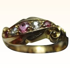 Ornate Antique{Chester 1917} 18ct Solid Gold 5-Stone Diamond + Ruby Gemstone 'Twist' Ring{3.1 Grams}