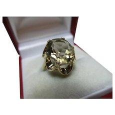 Decorative Vintage{London 1989} 9ct Solid Gold 'Cushion Shaped' Smoky Quartz Gemstone Ring{3.6 Grams}