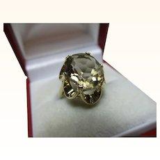 Decorative Vintage{London 1989} 9ct Solid Gold 'Cushion Shaped' Smoky Quartz Gemstone Ring{3.6 Grams}
