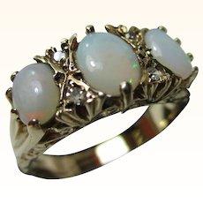 Quality Vintage{Birmingham 1988} 9ct Solid Gold 7-Stone Diamond + Opal Gemstone Ring{3.3 Grams}