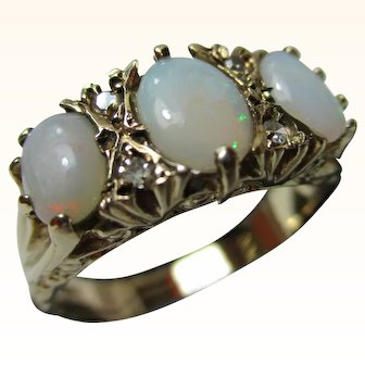 Quality Vintage{Birmingham 1988} 9ct Solid Gold 7-Stone Diamond + Opal Gemstone Ring{3.3 Grams}
