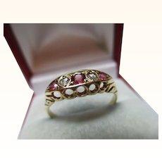 Quality Antique{Birmingham 1912} 18ct Solid Gold 5-Stone Diamond + Ruby Gemstone Ring