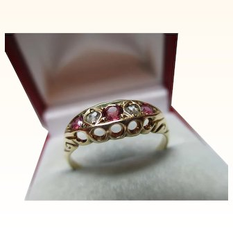 Quality Antique{Birmingham 1912} 18ct Solid Gold 5-Stone Diamond + Ruby Gemstone Ring