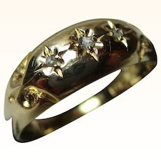 Quality Edwardian{Birmingham 1910} 18ct Solid Gold 3-Stone Diamond Gemstone Ring