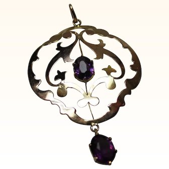 Quality 'Art Nouveau' 9ct Solid Gold Amethyst Gemstone Open-Work Pendant