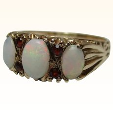 Attractive{Birmingham 1978} 9ct Solid Gold 7-Stone Opal + Garnet Gemstone Ring{3.4 Grams}{1.3Ct Opal Weight}