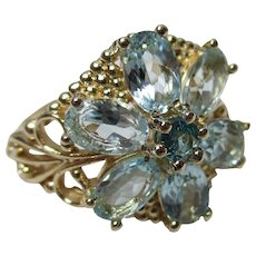 Decorative Georgian Style 9ct Solid Gold Blue Topaz Gemstone Cluster Ring{4.8 Grams}