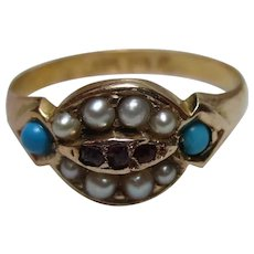 Pretty Victorian{Birmingham 1872} 15ct Solid Gold Ruby, Turquoise + Split Seed-Pearl Gemstone Cluster Ring