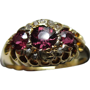 Decorative Edwardian{Chester 1909} 18ct Solid Gold Diamond + Almandine Garnet Gemstone Cluster Ring{3.4 Grams}