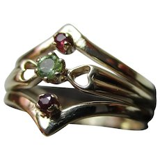 Attractive 9ct Solid Gold 3-Stone Ruby + Peridot Gemstone Ring
