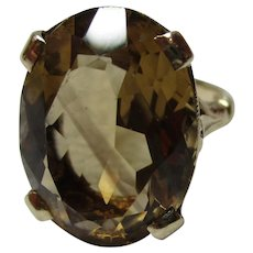 Decorative 9ct Solid Gold 'Cushion Shaped' Citrine Gemstone Ring{6.1 Grams}