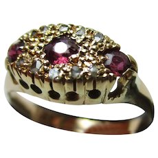Pretty Antique{Chester Hallmark} 18ct Solid Gold, 'Marquise Shaped' Diamond + Ruby Gemstone Ring