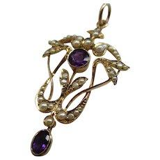 Attractive 'Art Nouveau' 9ct Solid Gold Amethyst + Split Seed-Pearl Gemstone 'Openwork Pendant'