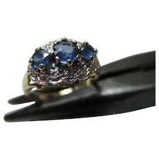 Pretty 9ct Solid Gold Diamond + Sapphire Gemstone Cluster Ring{0.45Ct Sapphire Gem' Weight}