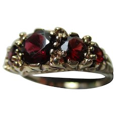 Decorative{London 1974} 9ct Solid Gold 5-Stone Garnet Gemstone Ring{3.7 Grams}