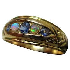 Attractive Edwardian{Birmingham 1908} 18ct Solid Gold 5-Stone Sapphire + Opal Gemstone Ring