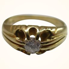 Decorative Vintage{London 1987} 18ct Solid Gold Diamond Solitaire Gemstone Ring{4.3 Grams}{0.22Ct Diamond Wt}
