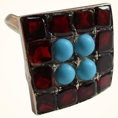 Attractive Georgian 15ct Solid Gold 'Square Shaped' Turquoise + Garnet Gemstone Cluster Ring{3.2 Grams}